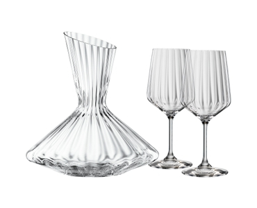 An unfilled Spiegelau Lifestyle Decanter and two unfilled Spiegelau Lifestyle Red Wine Glasses side by side