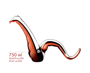 An unfilled RIEDEL Twenty Twelve Decanter Red/Black on a white background next to a schematic wine glass icon which shows the height of the decanter and the wine glass in relation.