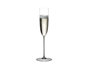 RIEDEL Superleggero Champagne Flute filled with a drink on a white background
