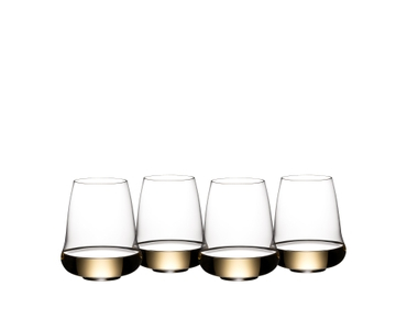 4 SL RIEDEL Stemless Wings Riesling/Champagne Glasses filled with white wine on white background