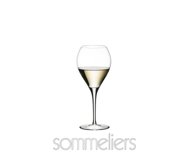 RIEDEL Sommeliers Sauternes filled with a drink on a white background
