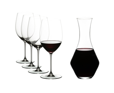 Special Offert - RIEDEL Veritas Cabernet with Decanter filled with a drink on a white background