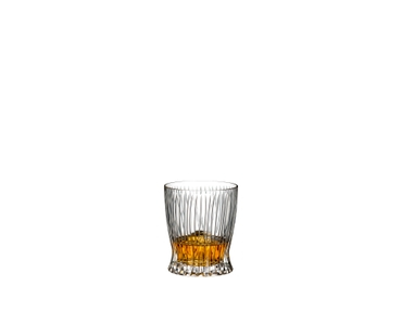 Special Offer - RIEDEL Veritas Cabernet + Tumbler Collection Fire Whisky filled with a drink on a white background