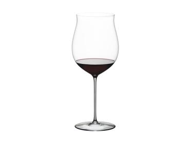 A RIEDEL Superleggero Burgundy Grand Cru glass filled with red wine.