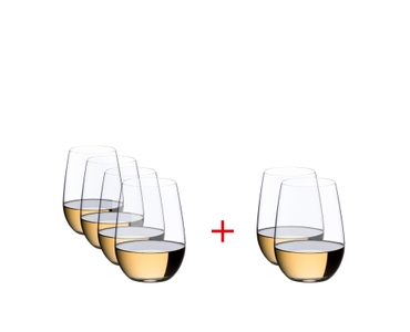 RIEDEL O Wine Tumbler Riesling/Sauvignon Blanc filled with a drink on a white background