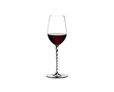 RIEDEL Fatto A Mano Riesling/Zinfandel Black & White filled with a drink on a white background