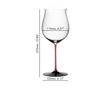 3 unfilled RIEDEL Sommeliers Black Series Burgundy Grand Cru glasses, a white wine filled Riesling Glass and a white wine filled Oaked Chardonnay glass stand on a laid table. Four starter salads on white plates are prepared for eating.