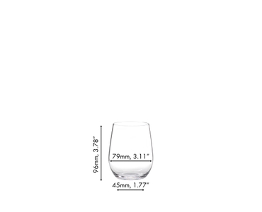 An unfilled RIEDEL O Wine Tumbler Viognier/Chardonnay on white background with product dimensions