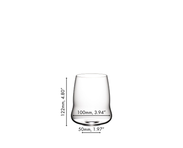 A SL RIEDEL Stemless Wings Cabernet Sauvignon glass filled with red wine on a white background