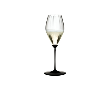 RIEDEL Fatto A Mano Performance Champagne Glass Black Base filled with a drink on a white background