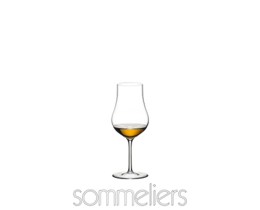 RIEDEL Sommeliers Cognac XO filled with a drink on a white background