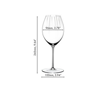 A red wine filled RIEDEL Performance Syrah/Shiraz glass on white background