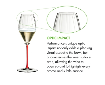 A RIEDEL Fatto A Mano Performance Champagne Glass with a red stem and filled with champagne on a white background