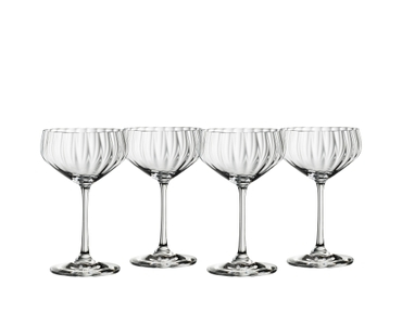 4 empty SPIEGELAU Lifestyle Coupette glasses side by side on white background