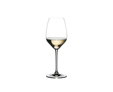 RIEDEL Heart To Heart Riesling filled with a drink on a white background