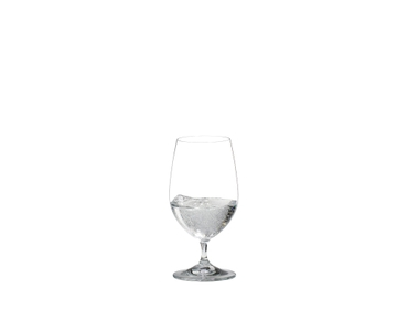 RIEDEL Vinum Gourmet Glass filled with sparkling water on white background