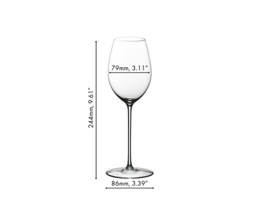 White wine filled RIEDEL Superleggero Loire glass on white background
