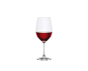 SPIEGELAU Winelovers Bordeaux filled with a drink on a white background