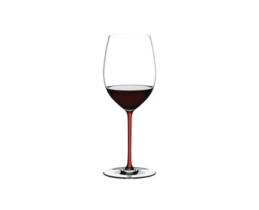 RIEDEL Fatto A Mano R.Q. Cabernet/Merlot Red filled with a drink on a white background
