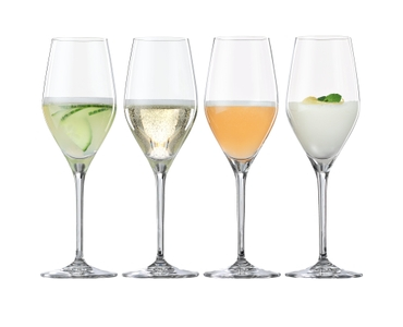 SPIEGELAU Special Glasses Prosecco filled with a drink on a white background