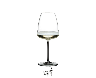 RIEDEL Winewings Champagne Wine Glass filled with Champagne on white background. The Riedel Winewings logo is placed below the glass.