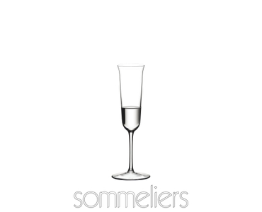 RIEDEL Sommeliers Grappa filled with a drink on a white background