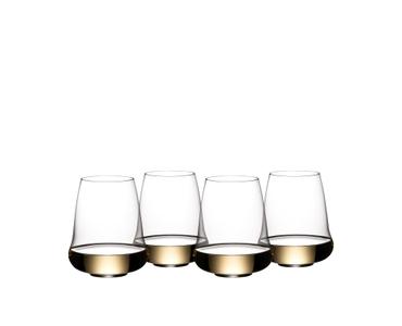 SL RIEDEL Stemless Wings Aromatic White Wine/Champagne Wine Glass rempli avec une boisson sur fond blanc