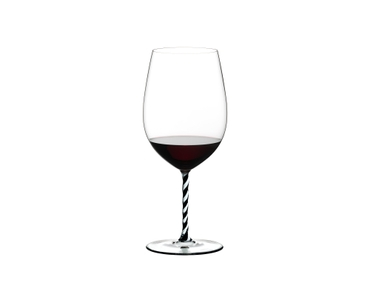 RIEDEL Fatto A Mano Bordeaux Grand Cru Black & White filled with a drink on a white background