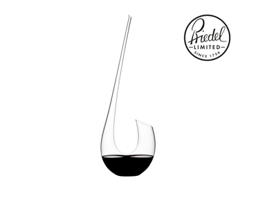 Red wine filled RIEDEL Swan Mini Decanter on white background. A red bottle icon with