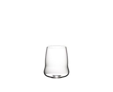 SL RIEDEL Stemless Wings Cabernet Sauvignon glass filled with red wine on white background