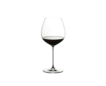 RIEDEL Veritas Restaurant Old World Pinot Noir filled with a drink on a white background