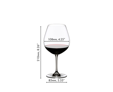 A red wine filled RIEDEL Vinum Pinot Noir (Burgundy red) glass on white background