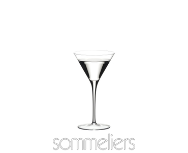 RIEDEL Sommeliers Martini filled with a drink on a white background