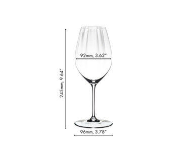 An unfilled RIEDEL Performance Riesling glass on white background with product dimensions.