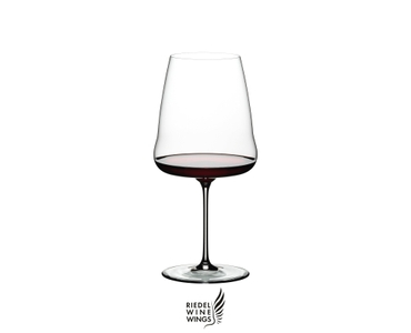 RIEDEL Winewings Cabernet Sauvignon filled with a drink on a white background