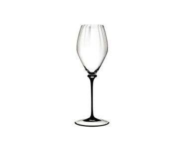 RIEDEL Fatto A Mano Performance Champagnerglas mit schwarzem Stiel auf weißem Hintergrund