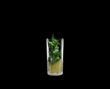 SPIEGELAU Perfect Serve Long Drink filled with a drink on a black background