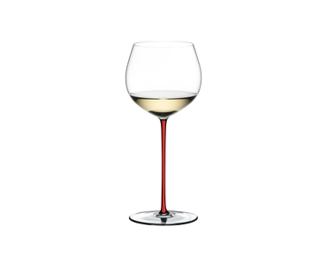 RIEDEL Fatto A Mano R.Q. Oaked Chardonnay Red filled with a drink on a white background
