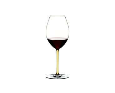 RIEDEL Fatto A Mano Syrah Yellow filled with a drink on a white background