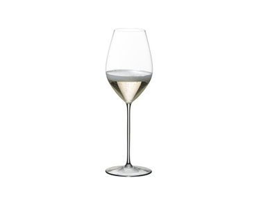 RIEDEL Superleggero Champagne Wine Glass filled with a drink on a white background