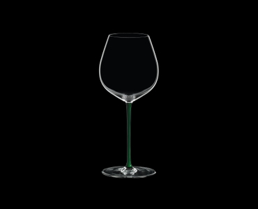 RIEDEL Fatto A Mano Pinot Noir Green R.Q. on a black background