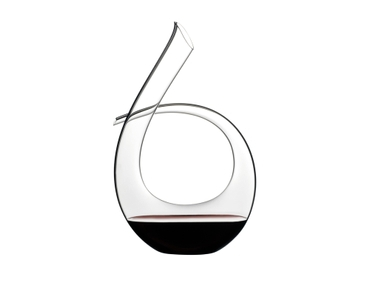 RIEDEL Decanter Black Tie filled with a drink on a white background