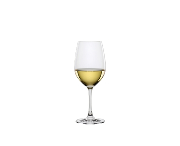 SPIEGELAU Winelovers White Wine filled with a drink on a white background