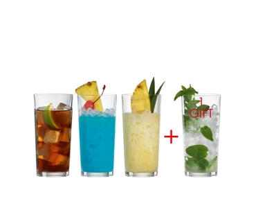 SPIEGELAU Special Glasses Long Drink filled with a drink on a white background