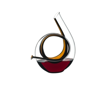 RIEDEL Decanter Horn Mini filled with a drink on a white background