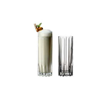 RIEDEL Drink Specific Glassware Fizz filled with a drink on a white background