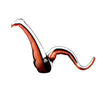 A RIEDEL Twenty Twelve Decanter Red/Black filled with red wine.