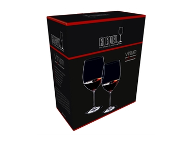 A RIEDEL Vinum Brunello di Montalcino glass filled with red wine on white background with product dimensions