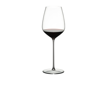 RIEDEL Max Restaurant Cabernet filled with a drink on a white background