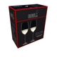 Unfilled RIEDEL Veritas Riesling/Zinfandel glass on white background with product dimensions